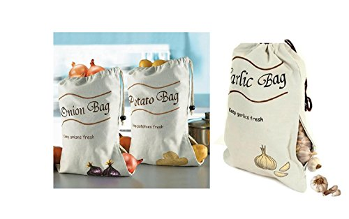 3 pack Onion Potato & Garlic Storage Bags Keeps Fresher Longer