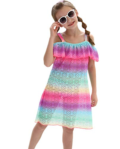 (Girls One Piece Swimwear Cover Ups, Rainbow Off Shoulder Swimsuits Cover Ups Bathing Suits Vover Up)