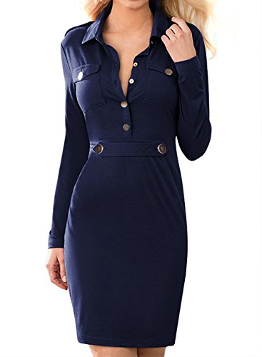 Miusol Women's Vintage Navy Style Long Sleeve Slim Business Pencil Dress Navy Blue  X-Large