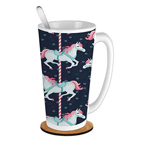 Baby Carousel Horses Playthings Merry Go Round Joyful Circus Amusement Park,Indigo Pale Blue Pink Ceramic Cup with Spoon & Round wooden coaster Creative Morning Mug Milk Coffee Tea Cup Mug ()