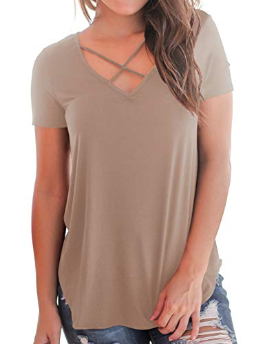 Women's Tees Neck Front V Summer Brown Sized Plus Tops Tee For Cross Lightweight n0PwOk