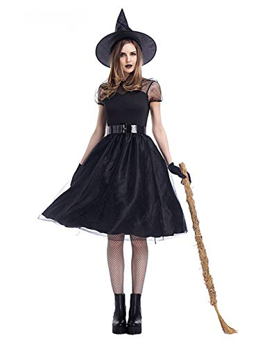 GRACIN Womens 4 Pieces Sexy Witch Costume, Halloween Classic Witch Dress with Gloves (X-Large, Black)