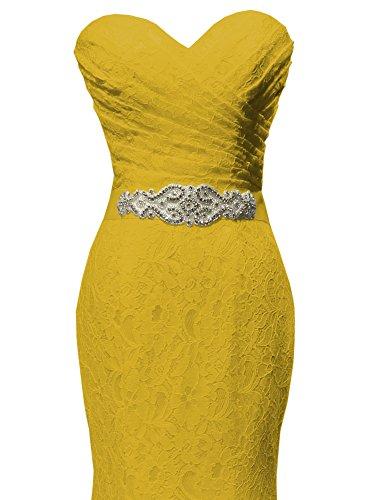 Sposa Abiti Pizzo Di Da Solovedress Sera Abito Sposa Sirena Yellow Fascia costume Con B8qxaxO