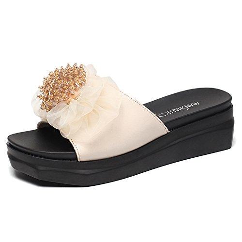 LIXIONG Zapatillas Mujer Verano Lounger Muffin Bottom Rhinestone Zapato de Moda de tacón Medio, Altura del tacón 5 cm, 2 Colores -Zapatos de Moda (Color : Negro, Tamaño : EU39/UK6/CN39/245) Blanco