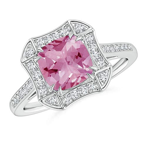 Art Deco Cushion Cut Pink Tourmaline Ring with Diamond Accents in Platinum (7mm Pink Tourmaline) -