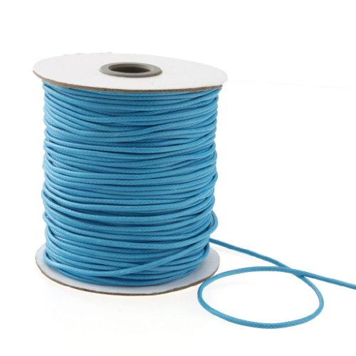 Yarui 20 Mtrs By Roll   2Mm Waxed Cotton Cords Sky Blue