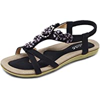 3c56f52000cbc7 Zicac Women s Bohemian Slingback T-Strap Rhinestone Sandals Flats Shoes