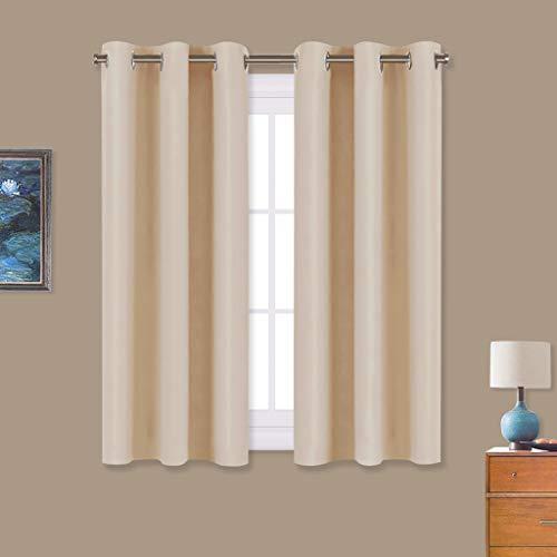 NICETOWN Room Darkening Draperies Window Curtain Panels, Thermal Insulated Grommet Room Darkening Curtains for Bedroom (Biscotti Beige, 2 Panels, W34 x L54 -inch)