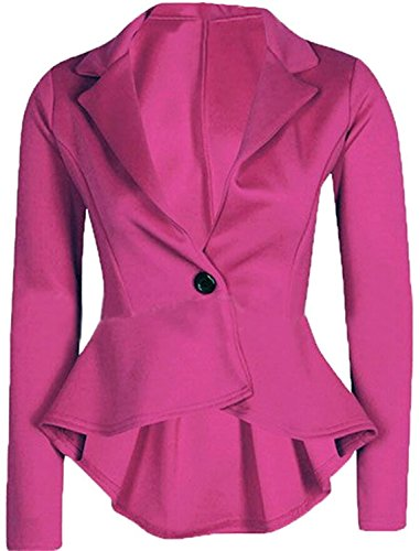 Losver Women's One Button Long Sleeve Short Suit Blazer Outwear Rose RedUS X-Small