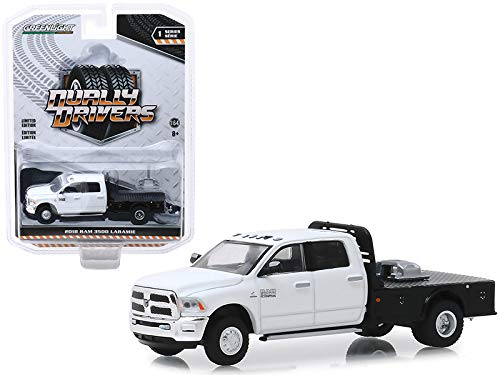 StarSun Depot New 2018 Dodge Ram 3500 Laramie Dually Flatbed Truck White Dually Drivers Series 1 1/64 Diecast Model Car by Greenlight