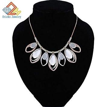 Metal Color: Multicolor, Length: 42cm Davitu Women Maxi Alloy Necklaces Statement Custome Colorful Necklace for Women Cute Jewelry
