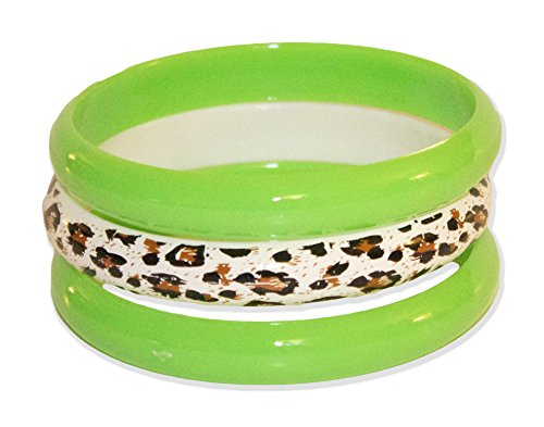 Neon Nation 3 Pack Bangles w/ Cheetah Print 80s Style Bracelets (Neon Green)