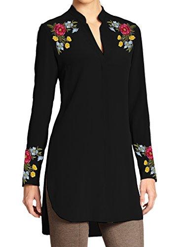 Kurti Mania Silk Tunic Embroidery On Shoulders Cuffs (Black, 3X) Cuff Tunic