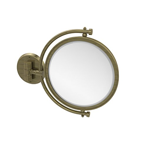 Allied Brass WM-4/4X-ABR 8 Inch Wall Mounted Make-Up Mirror 4X Magnification Antique Brass