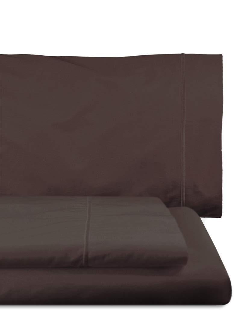 Home Royal - Juego de sábanas compuesto por encimera, 180 x 285 cm, bajera ajustable, 108 x 200 cm, funda para almohada, 45 x 130 cm, color chocolate