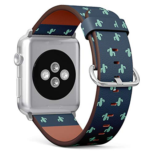 Compatible with Apple Watch 42mm & 44mm Leather Watch Wrist Band Strap Bracelet with Stainless Steel Clasp and Adapters (Cute Cactus Mexican)