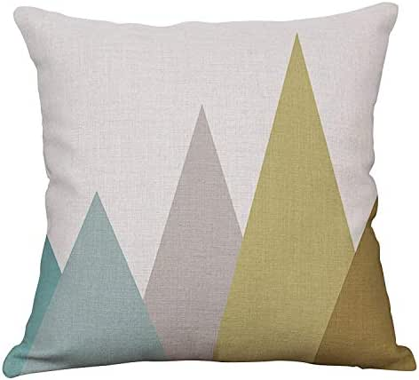 YeeJu Geometric Decorative Throw Pillow Covers Cotton Linen Square Cushion Covers Outdoor Couch Sofa Home Pillow Covers 18x18 Inch