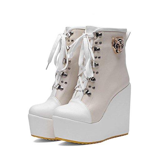 LvYuan Botas del tobillo de las mujeres / charol / oficina y carrera / talón alto de la cuña / Comfort / Lace-up Oxfords / cargadores de Martin / zapatos planos al aire libre del flatform beige