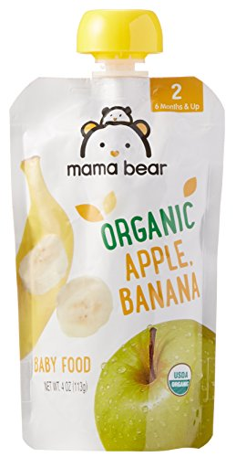 Mama Bear Organic Baby Food Pouch, Stage 2, Apple Banana, 4 Ounce Pouch (Pack of 12)