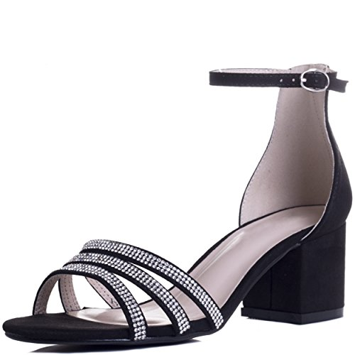 Spylovebuy Good Looking Damen Diamante Blockabsatz Sandalen Schuhe Pumps Schwarz - Synthetik Wildleder