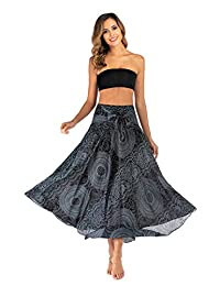 AllaSim Women's 2 in 1 Pleated Boho Maxi Skirt Dress