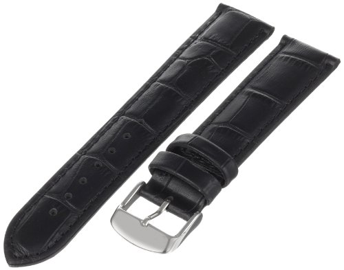 Hadley-Roma Men's MSM898RA-200 20-mm Black Alligator-Grain Leather Watch Strap Black Alligator Watch