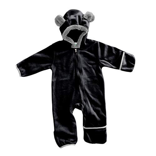 Funzies Baby Bunting Fleece Hooded Romper Bodysuit (BearBlack18-24m)