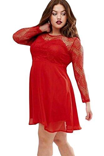Neuf pour femme Taille plus Dentelle Rouge Robe patineuse Bureau Robe Soirée Taille XXL UK 14–16EU 42–44