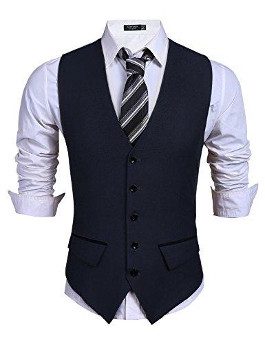 (Coofandy Men's Casual Slim Fit Skinny Wedding Dress Vest Waistcoat,Navy Blue,Large )