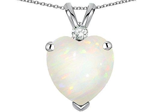 Star K 8mm Heart Shape Genuine Opal and Diamond Pendant Necklace 14 kt White - Gold White Charm 14k