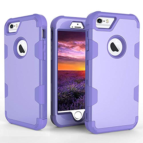 Purple Hard Plastic Case - iPhone 6 Case, iPhone 6S Case, AOKER Hybrid Heavy Duty Shockproof [Perfect] Hard Plastic +Soft Silicon Rubber Armor Defender Impact Protection Best Protective Case for iPhone 6/6S (Purple)