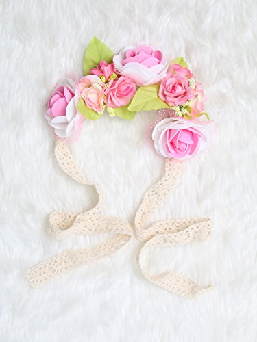 Festival Boho Hippy Hair Head Band/ Rose Crown/Bohemian style (Pink Blossom) (Dia Del Los Muertos Costume)