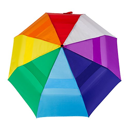 RainEssentials Windjammer Jumbo Compact Auto Open Rainbow Wind Umbrella (Jumbo Umbrella)