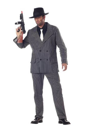 California Costumes Men's Gangster Costume, Black and White, Medium