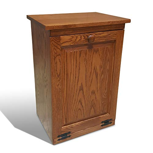 (Peaceful Classics Amish Handcrafted Tilt Out Trash Cabinet | Wooden Hideaway Pull Out Garbage Can Holder (Harvest))