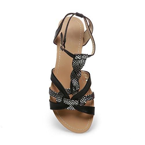Taille Plates Grande La nbsp;Femme Modeuse Sandales Noir 7HxxOn