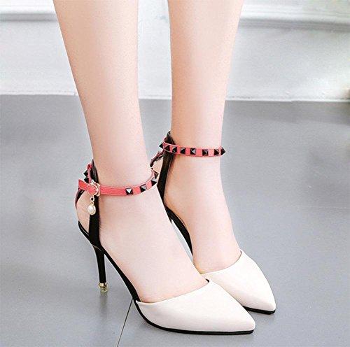 Frau Sommer Sandalen Baotou Sandalen Frauen Sandalen Fußring Hohlniet Wort Schnalle Schuhe fein mit hochhackigen Sandalen Frau meters white