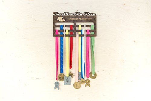 Wooden Medal Rack With Your Name Display 15.7x9.5x0.2 inches - Customized Medal Holder Personalized Medal Hanger - Sportsman Awards Organizer Brazilian Jiu-jitsu - Run - Karate - Judo - Gymnastics