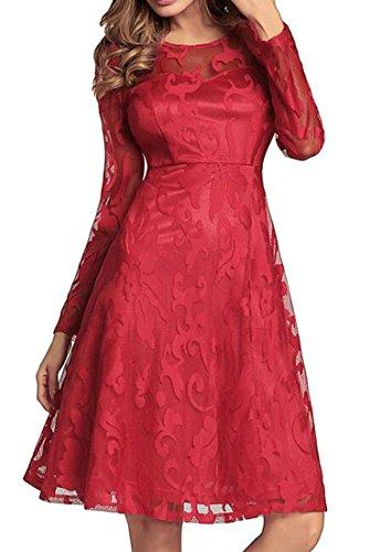Oscillare Pizzo Rosso Midi Vestito Dell'impero Womens Cruiize Semplice Linea Vita Una Giunzione 5wnxHSW