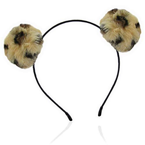 (Leopard Print Fuzzy Faux Fur Animal Ears Double Pom Headband for Women and Girls)