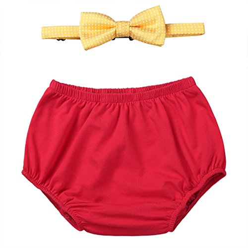 iEFiEL Infant Baby Boys 1st Birthday Outfit Diaper Cover Bloomers Shorts With Bow Tie Photo Props Party Clothes Set Red&Yellow 12-18 Months