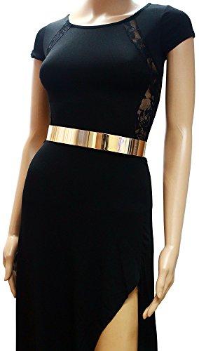 Womens Metal Mirror Waist-Belt Metallic Belt Obi Wide- Golden, Large (30-36 inch)
