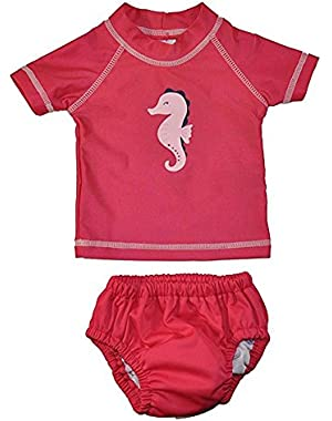 Just One You by Carter's Baby Girls Pink 2pc Rashguard Swim Diaper Set