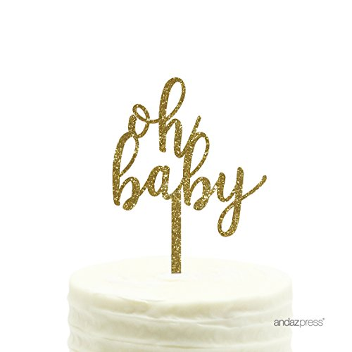 Andaz Press Baby Shower Acrylic Cake Toppers, Gold Glitter, Oh Baby, 1-Pack, (Baby Topper)
