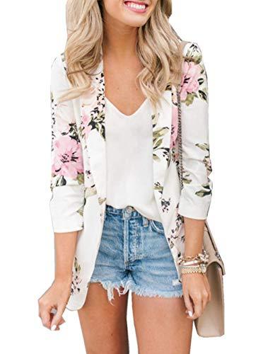 Asskdan Women's Open Front Long Sleeve Work Office Blazer Jacket Cardigan Casual Basic OL Leopard Blazer Suit (White, -