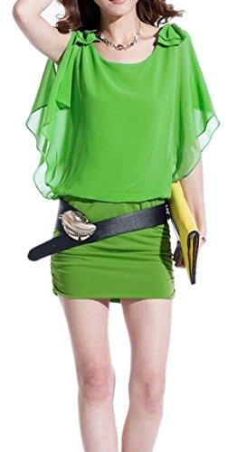 Green Batwing Bodycon Mini Sexy Chiffon Jaycargogo Womens Sleeve Dress 8qRtUfw
