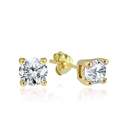 Hoops & Loops Yellow Gold Flash Sterling Silver 1/4ct Cubic Zirconia 3mm Round Stud Earrings -