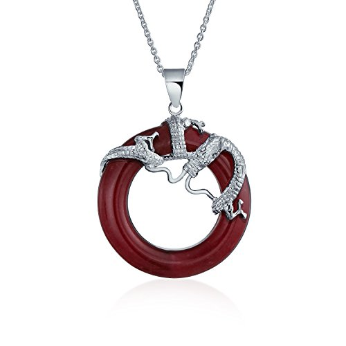Asian Style Round Open Circle Disc Dyed Red Jade Dragon Pendant Necklace For Women 925 Sterling Silver