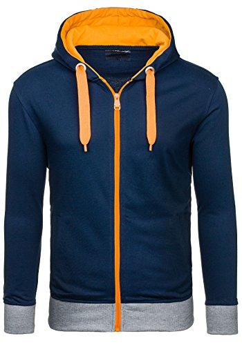 BOLF Herren Sweatshirt Mit Reißverschluss STEGOL AK90 Dunkelblau XL [1A1]