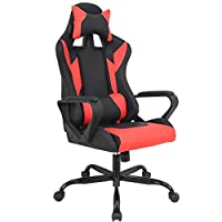 Gaming Chair Racing Chair Office Chair Ergonomic High-Back Leather Chair Reclining Computer Desk Chair Executive Swivel Rolling Chair with Adjustable Headrest Lumbar Support for Women, Men(Red)